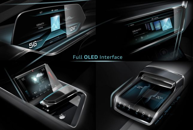 The front display, which is curved upward, offers some gesture controls and visualizes the climate control system. The two rear passengers in the Audi e-tron quattro concept have their own OLED displays.