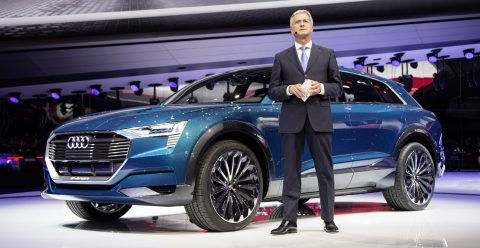 Prof. Rupert Stadler, Chairman of the Board of Management of AUDI AG, beside the concept car Audi e-tron quattro at the International Auto Show 2015 in Frankfurt/Main.