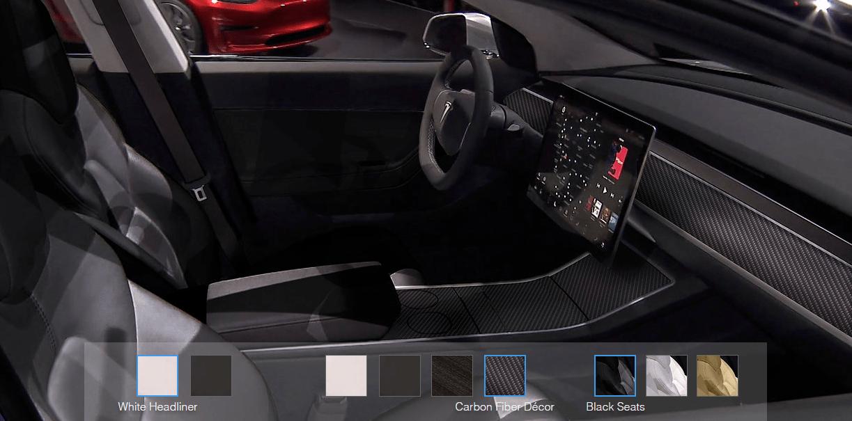 Tesla model 3 interior options