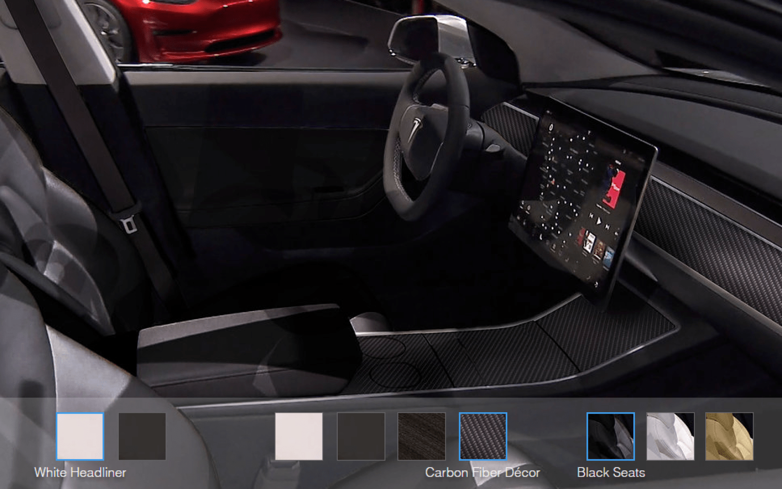 you can now configure tesla model 3 39 s interior in the. Black Bedroom Furniture Sets. Home Design Ideas