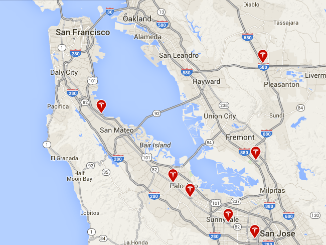 Tesla's current retail locations in the Bay Area