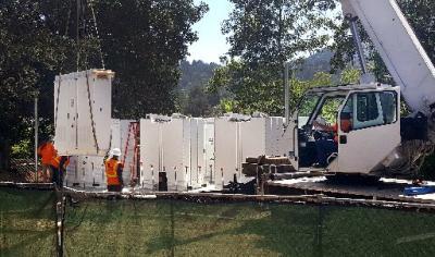 Tesla Powerpack installation Marin's Kentfield campus (Robert Tong/Marin Independent Journal)