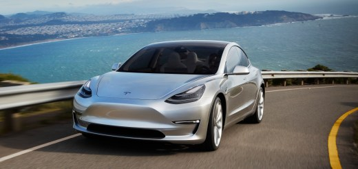 Tesla Model 3 silver prototype promo shot headlands