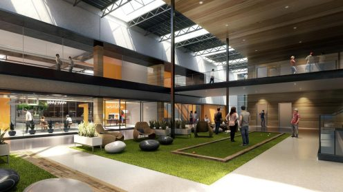 "Bixby Land. Co., in an announcement Monday, said Karma Automotive would be relocating to the former Kawasaki Motors USA base and opening a branded store there as well. The two-building campus includes a two-story atrium, seen here. Bixby, in renovating the site, sought ""a progressive-minded tenant that would value the unique configuration,"" said Aaron Hill, executive vice president and chief operating officer at Bixby, in a statement."