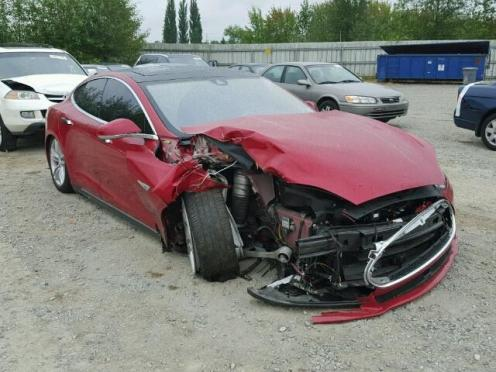 model s damaged collision 1