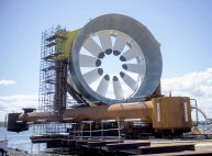 A turbine for the Cape Sharp Tidal project is seen at the Pictou Shipyard in Pictou, N.S., on Thursday, May 19, 2016. Two turbines will be launched in the Bay of Fundy with the potential to provide energy to more than 1,000 customers in Nova Scotia by harnessing the power of the tides. THE CANADIAN PRESS/Andrew Vaughan