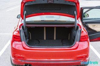 260 trunk space foldable rear seat BMW 330e Hybrid 3 series sports sedan review