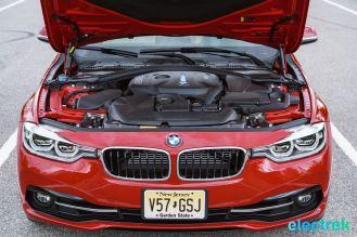 270 engine bay BMW 330e Hybrid 3 series sports sedan review