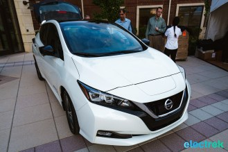 10 New Nissan Leaf 2018 front view logo grille hood headlights National Drive Electric Week Bridgewater NJ-30