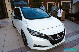10 New Nissan Leaf 2018 front view logo grille hood headlights National Drive Electric Week Bridgewater NJ-30