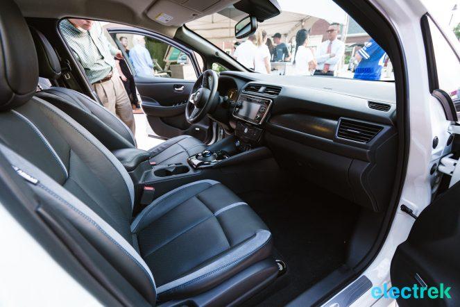 60 New Nissan Leaf interior passenger side space dashboard glovebox seats 2018 National Drive Electric Week Bridgewater NJ-13