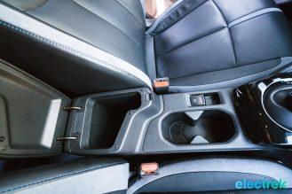 63 New Nissan Leaf console space cup holders parking brake 2018 National Drive Electric Week Bridgewater NJ-16