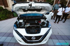 72 New Nissan Leaf 2018 engine bay motor space hood open charge chademo level 2 National Drive Electric Week Bridgewater NJ-25
