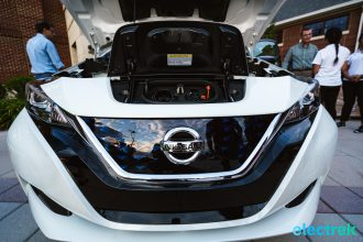 73 New Nissan Leaf 2018 engine bay motor space hood open charge chademo level 2 National Drive Electric Week Bridgewater NJ-26