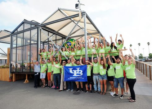 Second place overall winners is University at Buffalo, The State University of New York at their house at the U.S. Department of Energy Solar Decathlon 2015, October 17, 2015 at the Orange County Great Park, Irvine, California (Credit: Thomas Kelsey/U.S. Department of Energy Solar Decathlon)