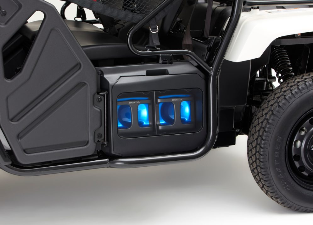 The Honda Mobile Power Pack 4W-Vehicle Concept is a compact and agile EV based on the Honda Pioneer 500 side-by-side. Equipped with slots for two Honda Mobile Power Packs on each side, this Zero-Emission vehicle enables more fun and less impact to the environment on various occasions, including off-road situations.