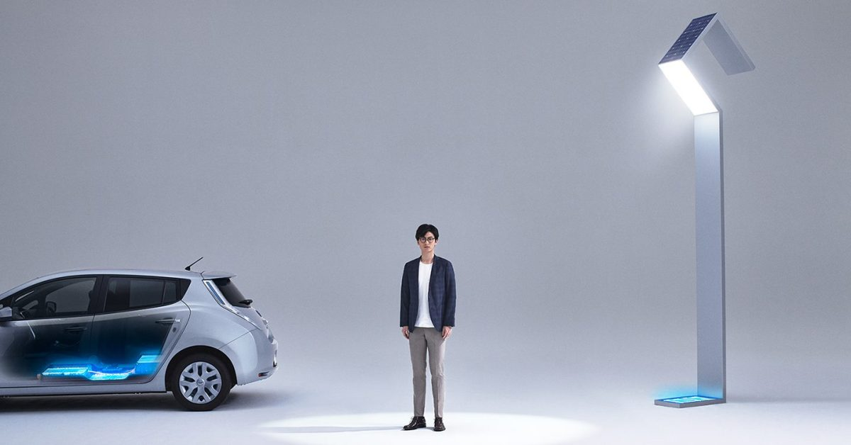 Nissan unveils stunning new streetlights powered by used Leaf battery packs and solar - Electrek