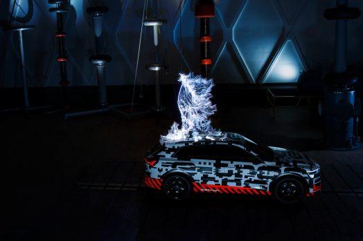 The Audi e-tron prototype in a Faraday cage