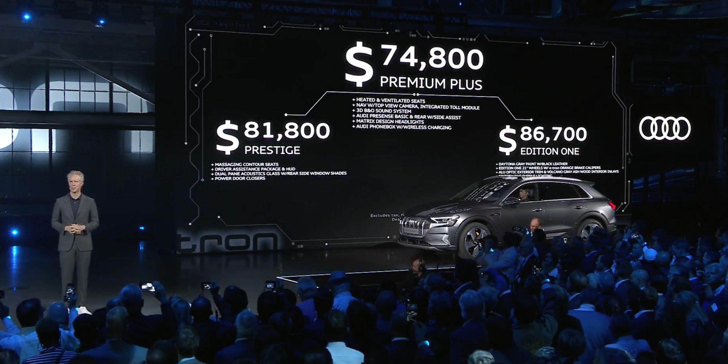 Audi E-Tron World Launch pricing