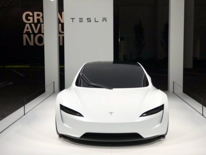 Tesla white roadster 2