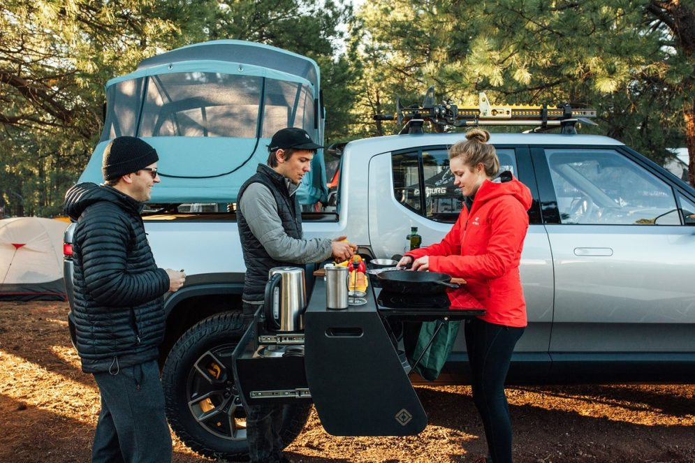 Rivian electric pickup truck camper 1