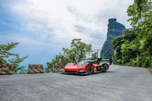 """ID.R on the """"Big Gate Road"""" at Tianmen Mountain."""