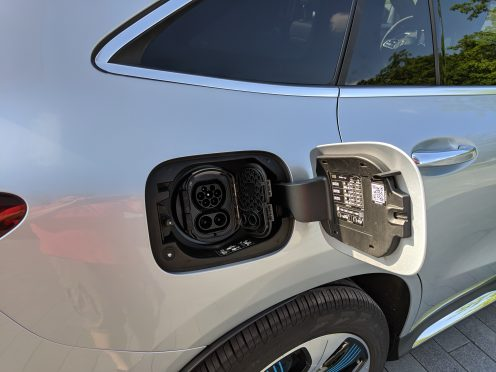 Mercedes electric EQC charge port