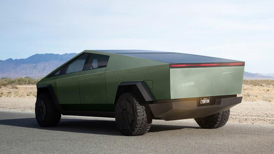 Tesla Cybertruck green 3/4 back