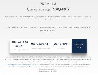 mustang mach e specs website premium