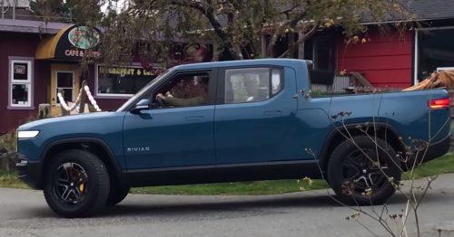 Rivian pickup truck blue 4