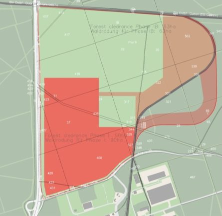 gigafactory berlin forest layout clearing plan deforestation phases