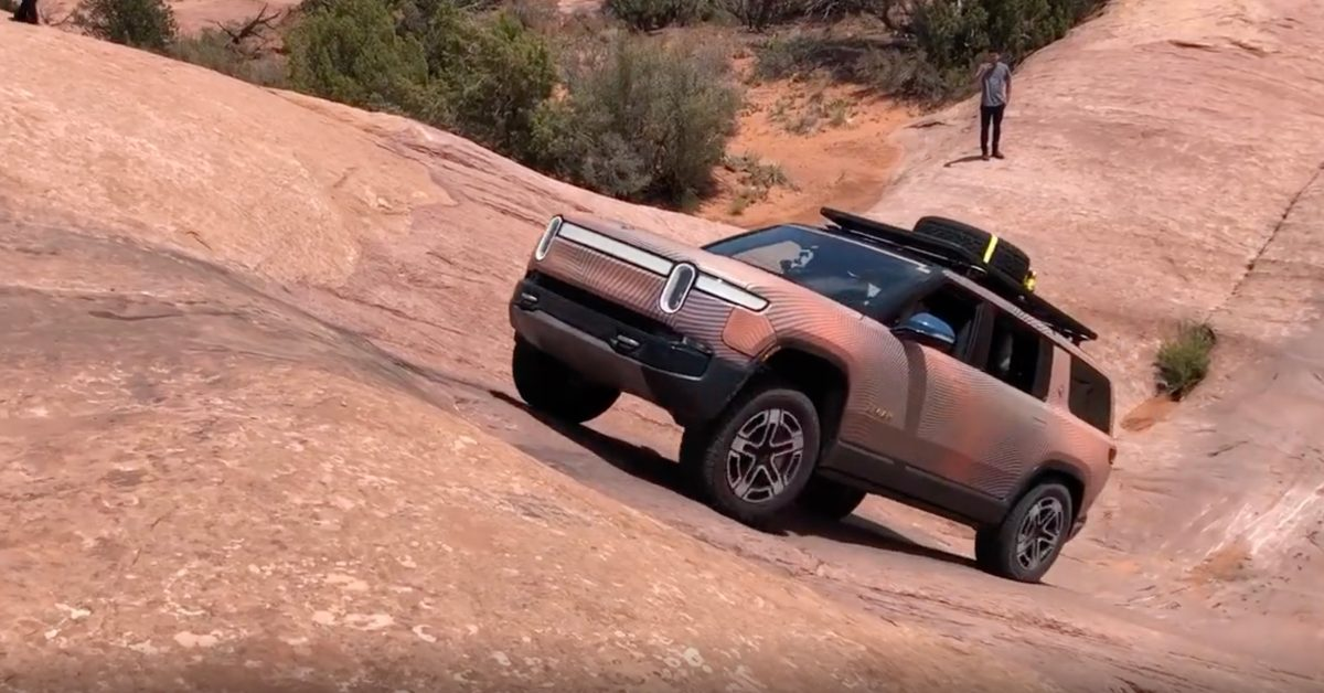 Watch Rivian's electric SUV climb an insane 45-degree slope like it's nothing