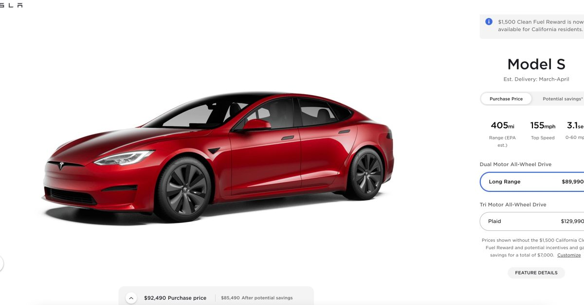 Tesla increases Model S price by another $5,000