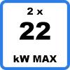 Max 2x22kW - Double borne de recharge avec câbles (2 x 22kW)