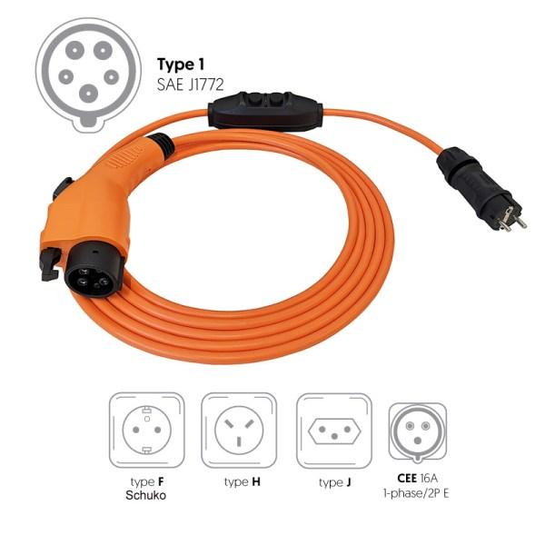 Draagbare oplader met huishoudelijke stopcontact voor elektrische auto (3,7 kW, Type 1)