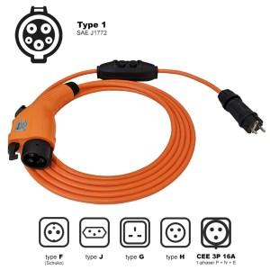 Chargeur portable avec prise domestique pour véhicule électrique (3,7kW - Type 1)