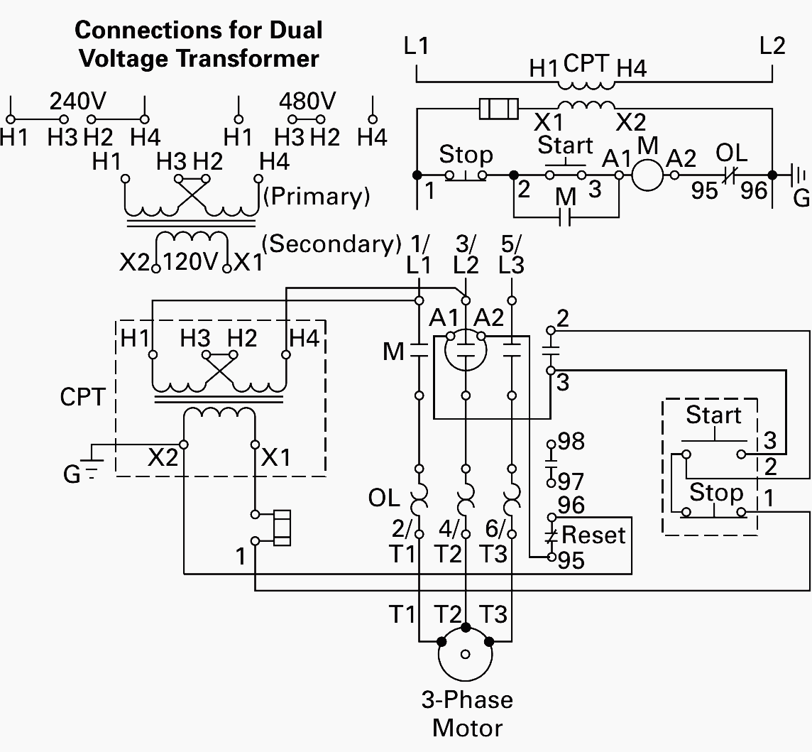 Transformer Wiring Diagram 480v To 120 240v Diagram