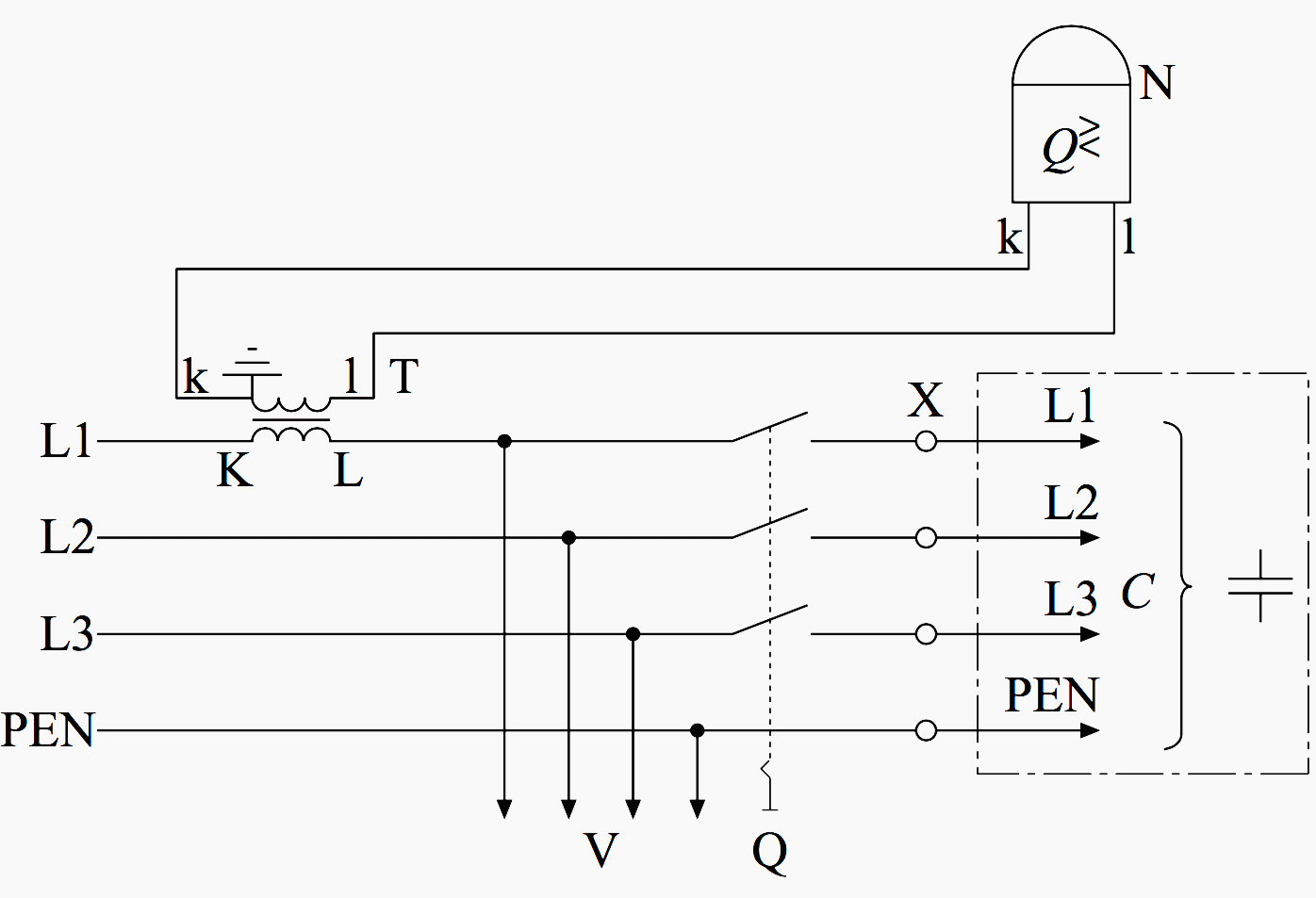 Wiring Of Power Factor Relay On LV And MV Side (circuit