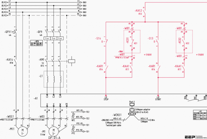 the wiring diagram and physical layout of the equipment