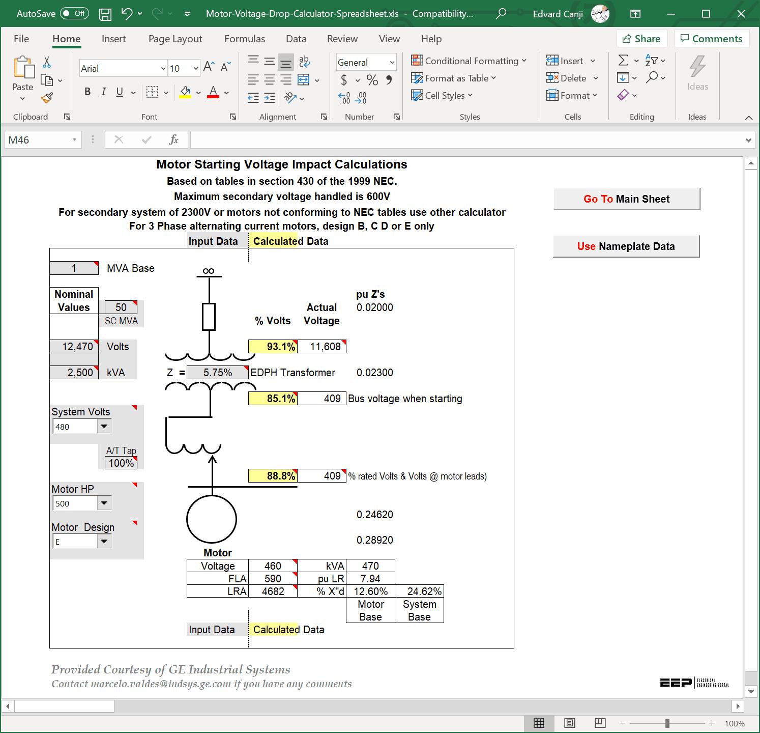 Motor Load Calculation Xls