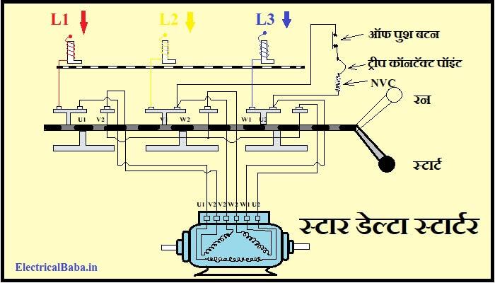 Star Delta Starter Diagram in hindi