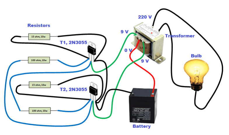How to Make Simple Inverter at Home - Circuit & Step by Step method | Battery And Inverter Wiring Diagram |  | electricalfundablog.com