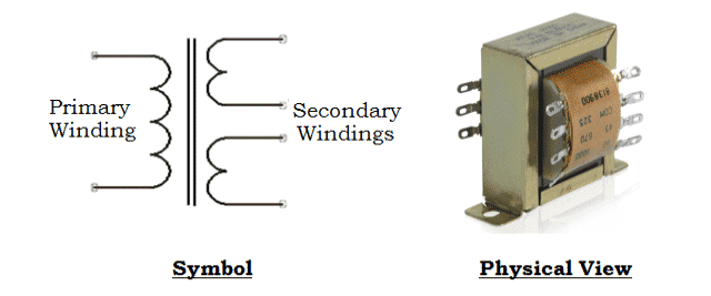 Symbol and Physical View of MultiTapped Step Down Transformer