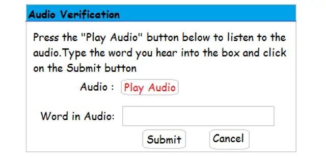 Audio based CAPTCHA Code