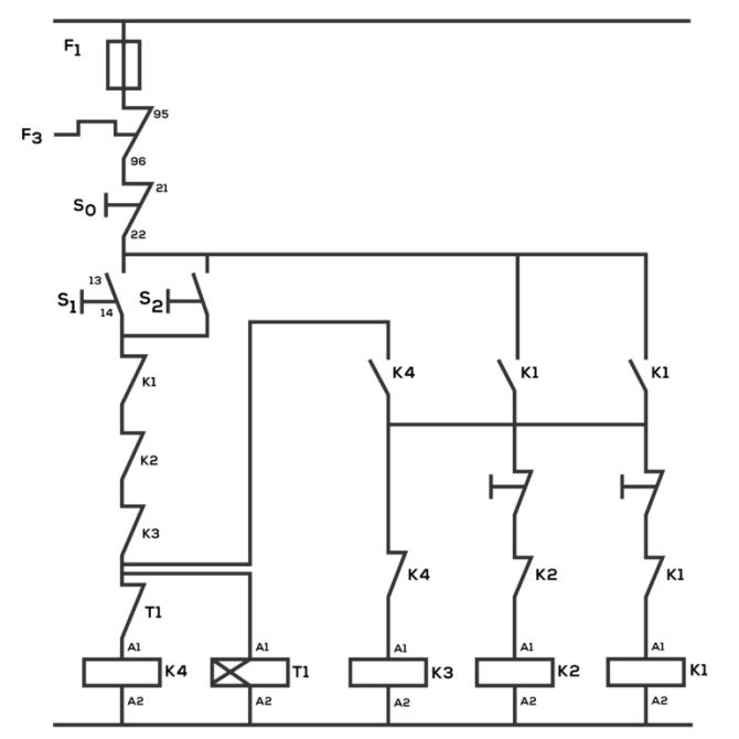 auto star delta and forward reverse control circuit for