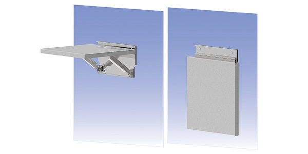 Space-Saving Fold-Down Enclosure Shelves now also Available in 316 Stainless Steel