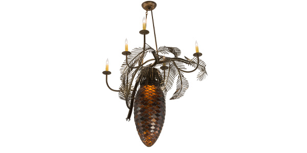 Meyda Lighting Introduces Pinecone 5 Arm Art Glass Chandelier