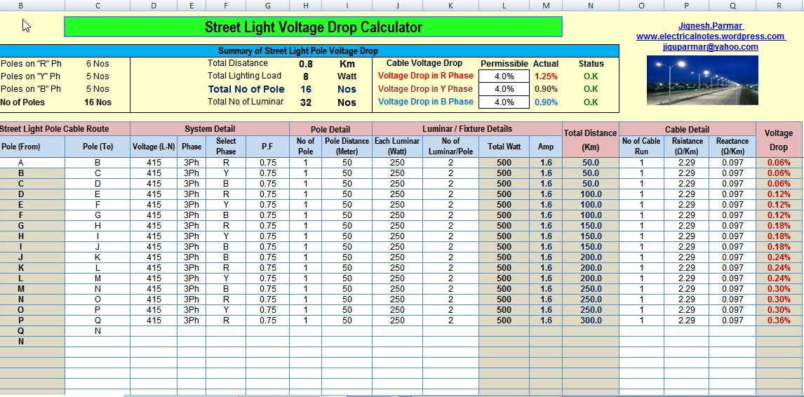 calculate voltage drop and no s of