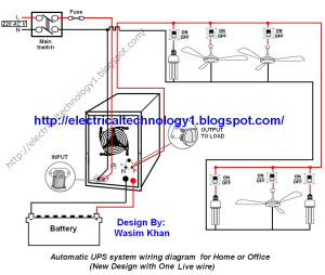 Automatic UPS system wiring circuit diagram for Home or Office