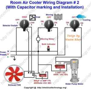 Room Air Cooler Wiring Diagram # 2 (With Capacitor